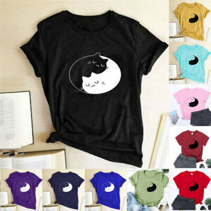Womens-T-Shirt-Cat-Print-Blouse-Summer-Short-Sleeve-Loose-Ladies-Casual-Tee-Tops
