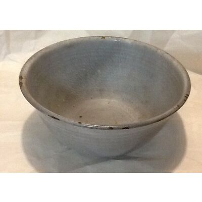 Vintage Metal Porcelain ? Mixing Bowl Retro Grey Patina Country