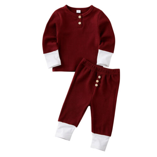 UK Toddler Baby Girl Boy Sweater T-shirt Tops Leggings Pants Knitted Clothes Set