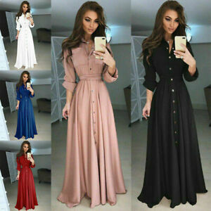 UK-Women-Long-Sleeve-Button-Dowm-Maxi-Dress-Evening-Party-Casual-Shirt-Dress