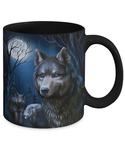 Wolves At Night Unique Illustration Wolf Coffee Mug 11oz Ebay