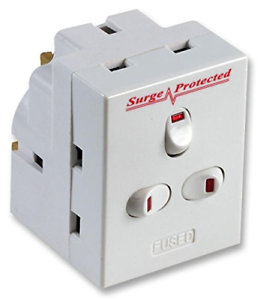 3 Way Switched Adaptateur Surge Protected Plug 13AMP UK Neon Multi Plug