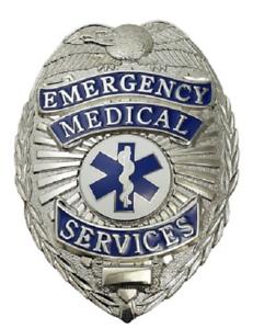 EMS Emergency Medical Service Metal Badge in Silver Color #4183N
