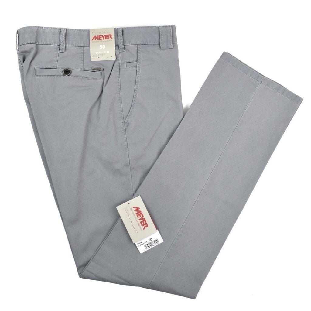 Nwt Meyer Roma Grau Gepunktete Baumwolle Glatt Vorne Hosen Jeans 50 34