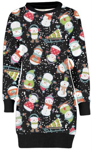 New Ladies Long Sleeve Sweatshirt Christmas Thermal Novelty Jumpers 8-22