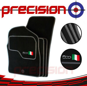 Classic-Black-Carpet-Car-Mats-with-500-Logo-amp-Grey-Solid-for-Fiat-500-07-12