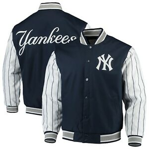 3e88e3db29d JH Design MLB New York Yankees Navy Quilted Knit Lined Pinstripe ...