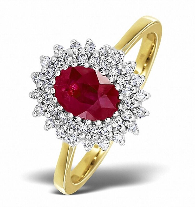 f15e43faa Ruby and Diamond Ring Yellow gold Cluster Engagement size F - Z Appraisal