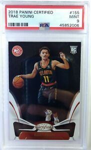 2018-19-Panini-Certified-Trae-Young-Rookie-RC-155-Atlanta-Hawks-Graded-PSA-9