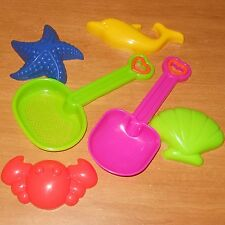 6 Pc TOY SAND BEACH FUN SET #7 MOLD SHOVEL SIFTER ANIMAL SHAPES New FREE USA S&H