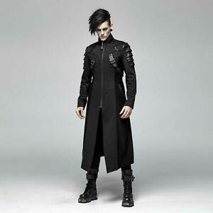 am besten billig Qualitätsprodukte groß auswahl Details zu PUNK RAVE Gothic Mantel Herren Schwarz Lang Armor Coat  Leder-Schuppen Larp