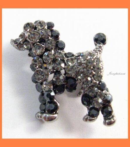 MINI DOG BLACK AUSTRIAN RHINESTONE CRYSTAL BROOCH PIN