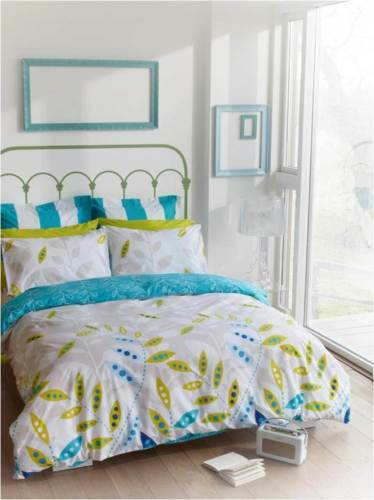 Fiji Blue Queen Size Quilt  Cover Set 225TC Percale