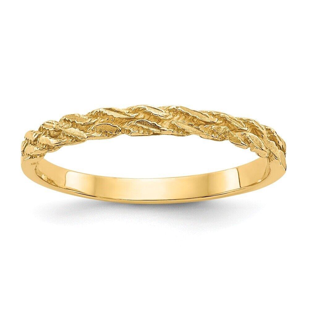 Genuine 14k Yellow gold Diamond-cut Rope Ring  1.81 gr