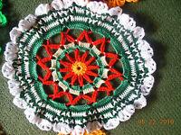 Red Green Xmas Mandala Yarn Doily Table Mat/trivet Crochet Handmade Table Runner