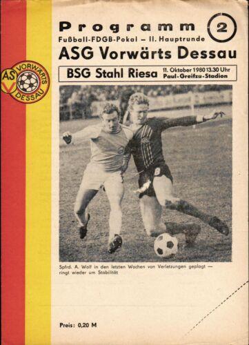 FDGB-Pokal 80/81 ASG Vorwärts Dessau - BSG Acier Riesa, 11.10.1980