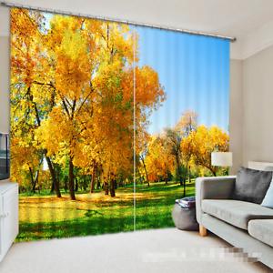 Árbol de oro 3D 386 Cortinas de impresión de cortina de foto Blockout Tela Cortinas Ventana Reino Unido
