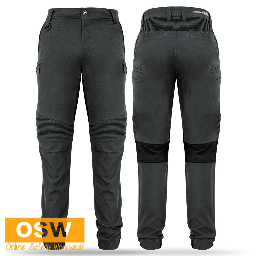 MENS COMBAT STREETWEAR TRADIES STOVE PIPE STRETCH AGILITY CHARCOAL WORK PANTS