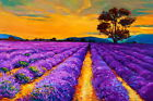 HD Print Oil painting Picture Provence lavender garden Landscape on canvas L122