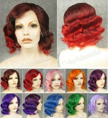 """11"""" Front lace short wavy brown ombre red synthetic wig.purple green blue pink"""