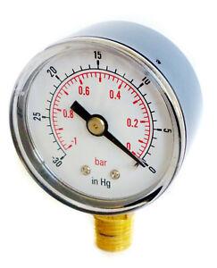 Vacuum Gauge 50mm Dia -30*Hg & -1/0 Bar 1/8 BSPT Bottom connection.