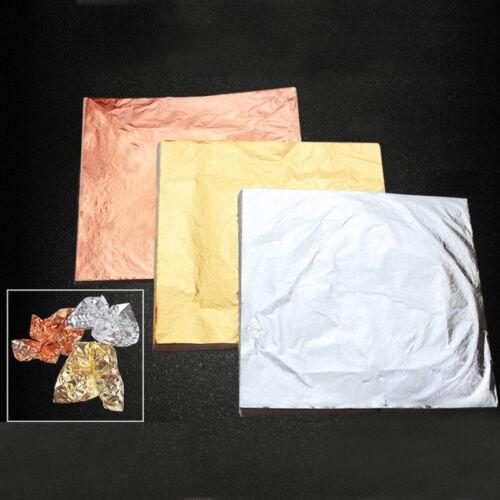 100 Sheet Gold Silver Copper Leaf Foil Paper For Gilding Crafting DIY HOME Decor