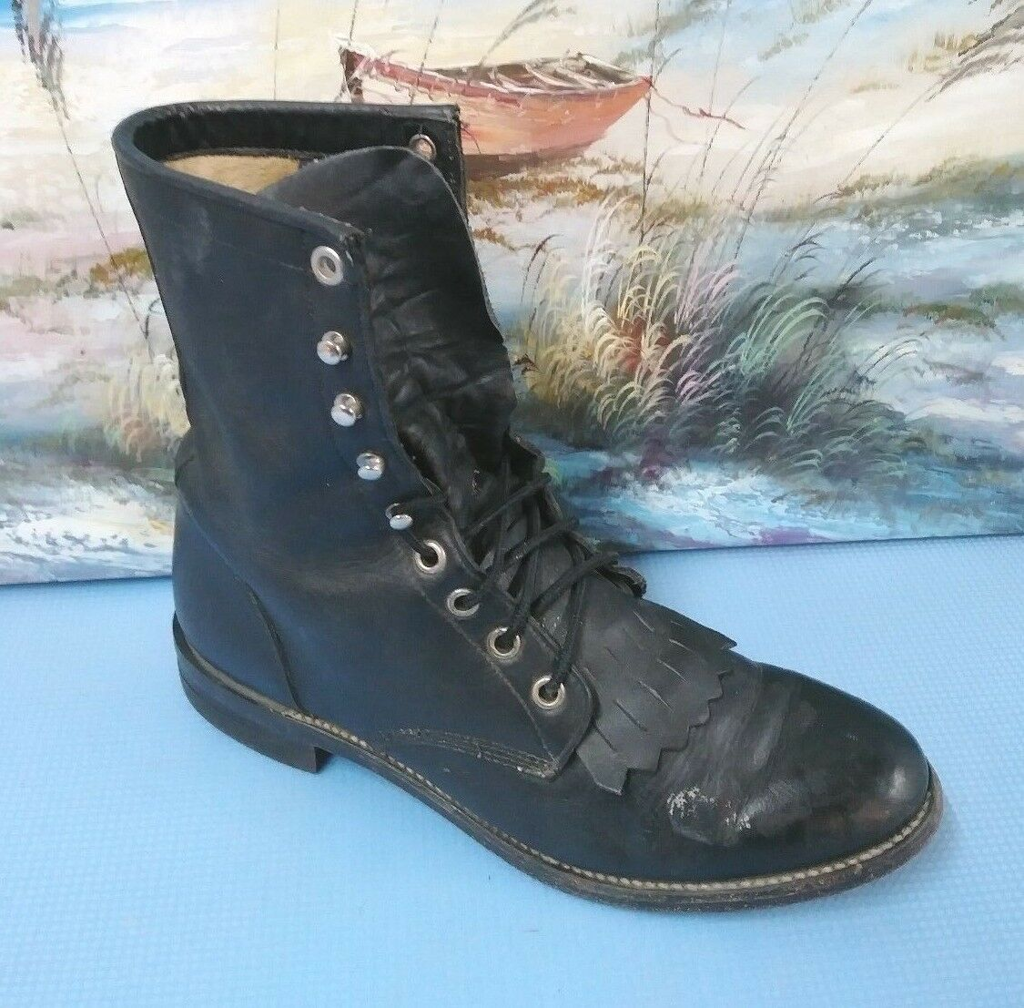Women's Justin Black Lace Up Roper Cowboy Boots 7 B  L506