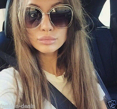 Double Halo Metal Wire Loe Round Circle caLina Women Sunglasses Gradient Lenses
