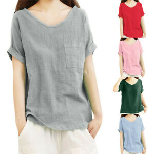 UK Womens Cotton Linen Loose Tunic Tops Ladies Short Sleeve Lace T-Shirt Blouse