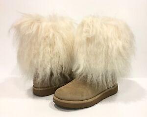 3f476a263d3 Details about UGG AUSTRALIA LIDA MONGOLIAN SHEEPSKIN CUFF WOMEN'S BOOTS  NATURAL SAND -US 5