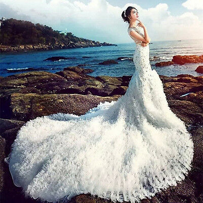NEW Rhinestone Train Wedding Dresses Quinceanera Formal Prom Party Pageant Gown