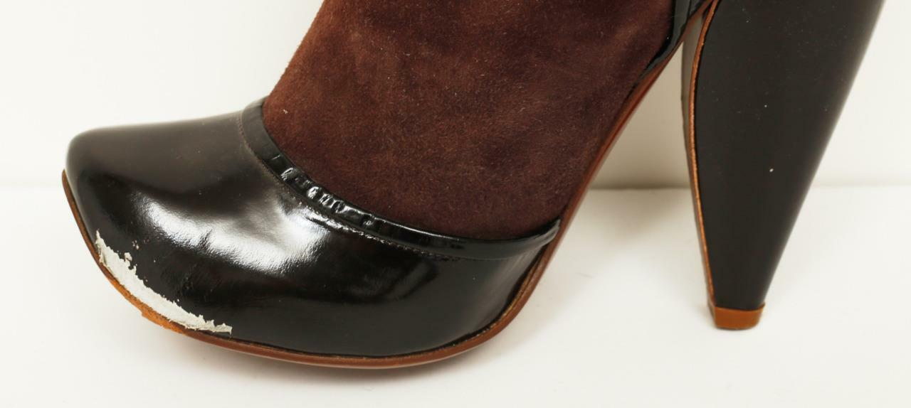 MARC JACOBS Patent & Perforated Leather Sock High Heel Buckle Slouch Sock Leather Boots 9-39 0a8ffa