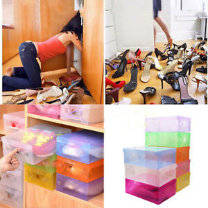 Lot-20-Candy-Color-Plastic-Shoe-Boxes-Stackable-Shoes-Box-Drawer-Unit-Colorful