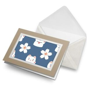 Greetings-Card-Biege-Cute-Lucky-Cat-amp-Flower-Chinese-China-8729