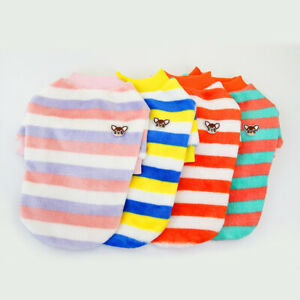 Cute-Pet-Dog-Clothes-Rainbow-Fleece-Stripe-Shirt-Summer-Puppy-Short-Sleeve-Vest