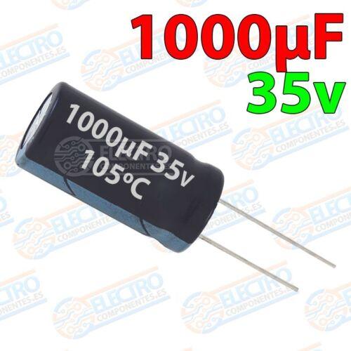 Condensadores electroliticos 1000uF 35v ±20/% 10x21mm Arduino E Lote 1 unidad