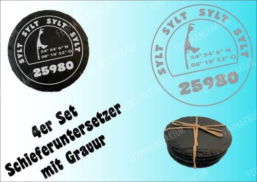 Schiefer 4er Set Untersetzer Gravur Sylt Stamp Nordsee Meer Slate coaster Deko
