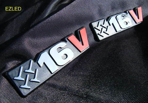 CAR RED BLACK CHROME 16V BADGE EMBLEM PAIR BRAND NEW