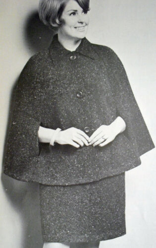 """1676 RETRO 1960s DK KNITTING PATTERN Woman/'s Cape /& Skirt 38-40/"""" Extracted Copy"""