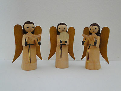 Engelmusikant Engel mit Posaune mit Krone natur Höhe ca 6 cm NEU Holzengel Holz
