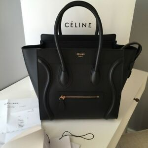 8b8fa7b702c5 Image is loading CELINE-Micro-Luggage-Handbag-NEW-BLACK-WITH-GOLD-