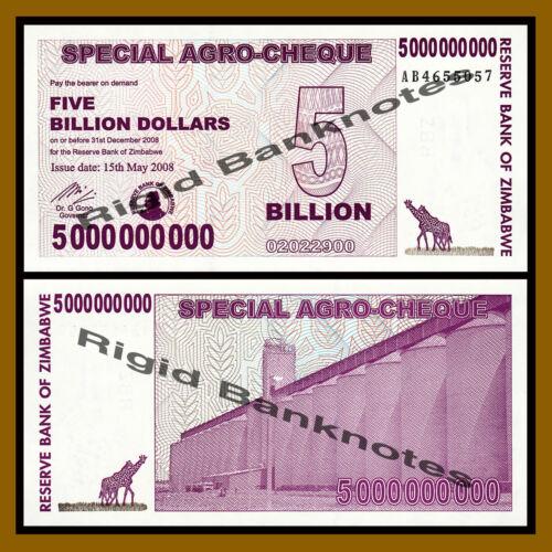 2008 P-61 Unc Zimbabwe 5 Billion Dollars Agro Checks