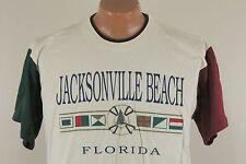 Vtg Jacksonville Beach Florida T Shirt - Cotton 90s Off White  - Men's Large L