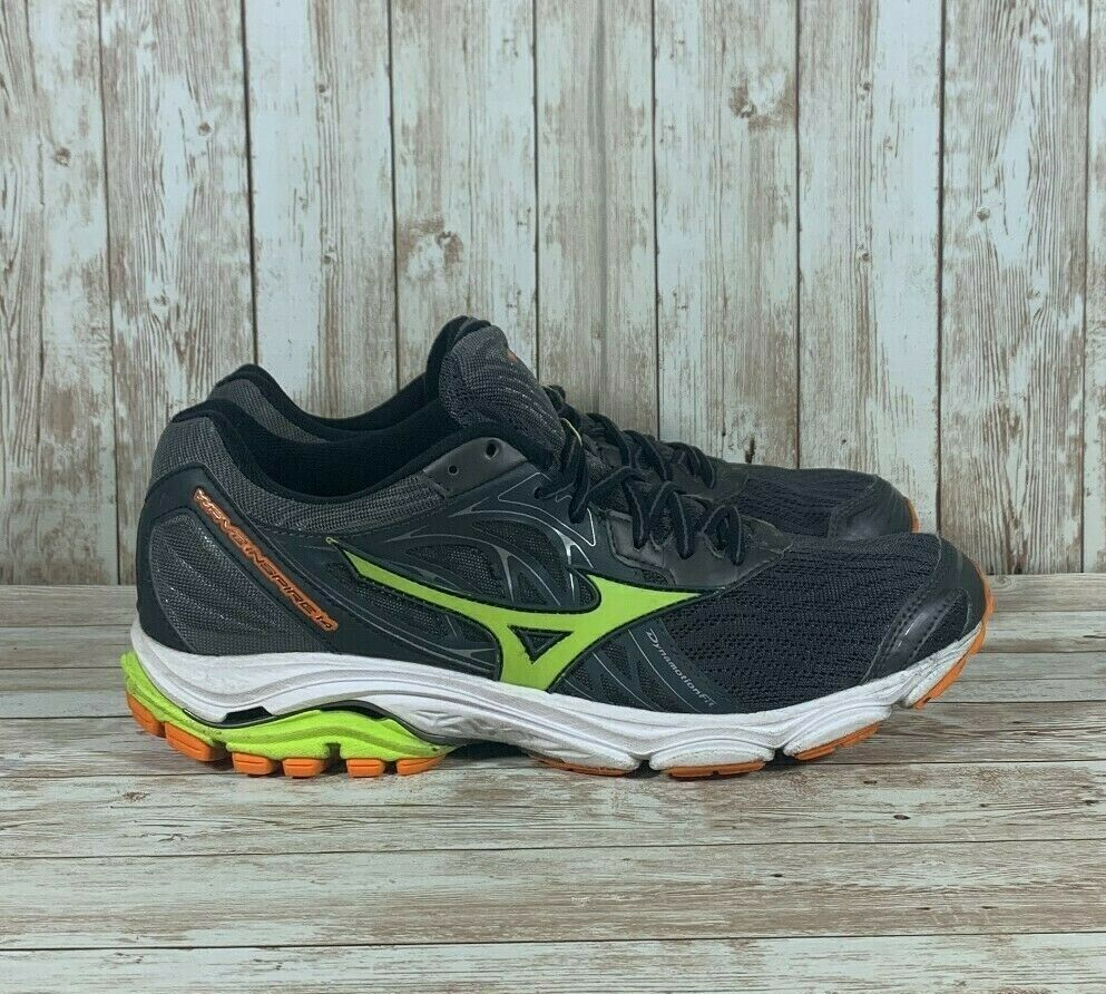 Mizuno Wave Inspire 14 Athletic Running Shoes Black Green Men's Size 9