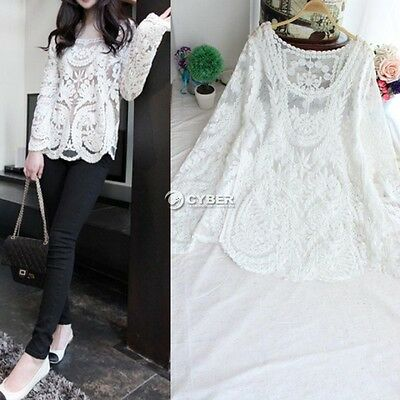 Women's Sheer long Sleeve Embroidery Floral Lace Crochet Tee T-Shirt Top Blouses