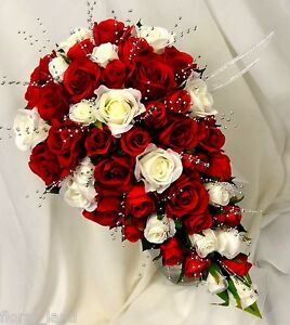 Image Is Loading Teardrop Bouquet Red Cream White Rose Roses Silver