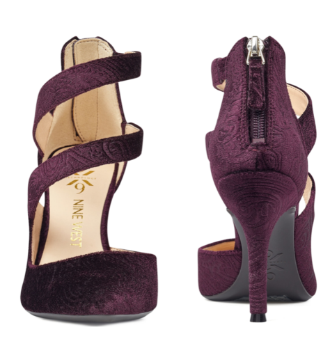 NIB - - - NINE WEST FLORENT9 VELVET DRESS PUMPS - DARK PURPLE - SIZE 8.5 2b6b5f