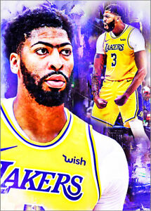 2021-Anthony-Davis-Los-Angeles-Lakers-3-25-Blue-Art-ACEO-Print-Card-By-Q