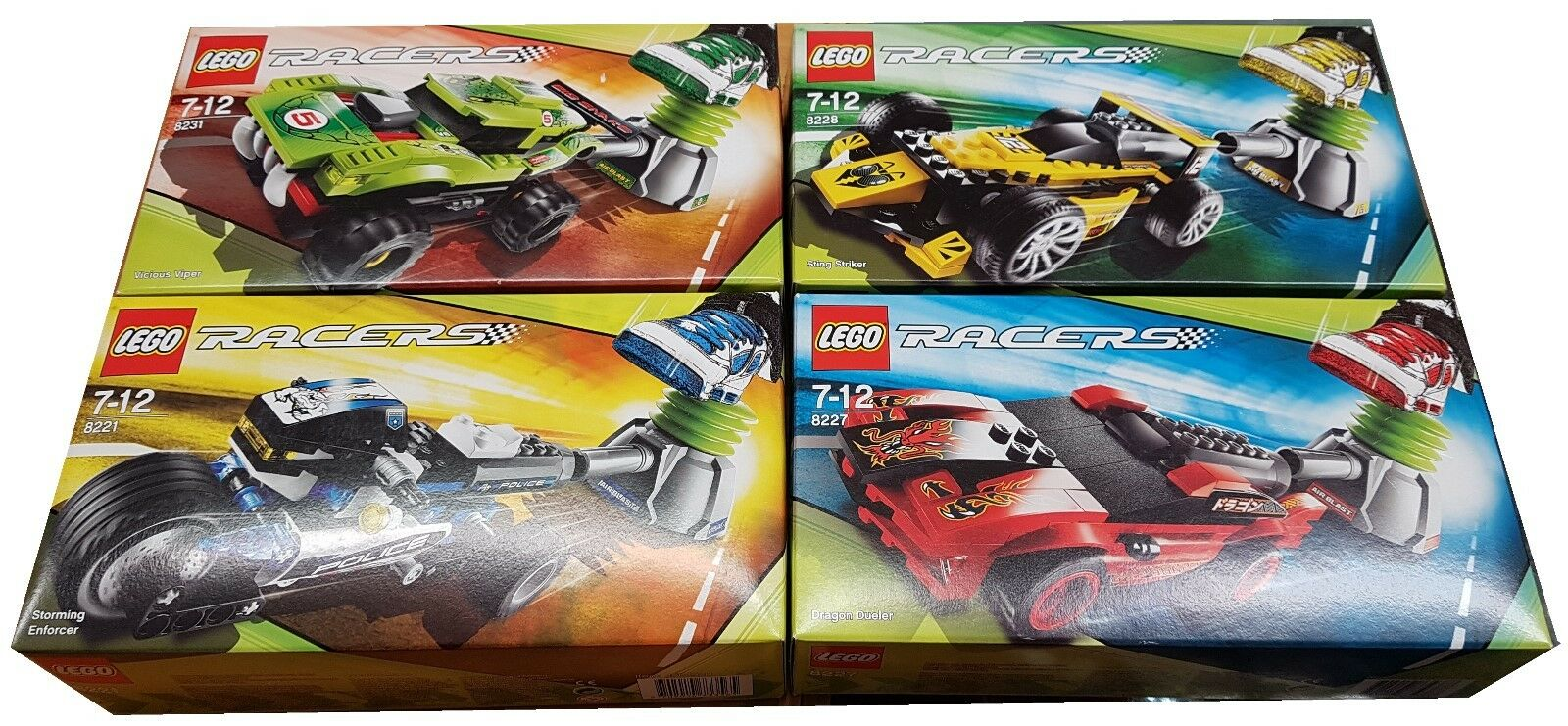 Lego racers 8221, 8227, 8228 and 8231 joblot.