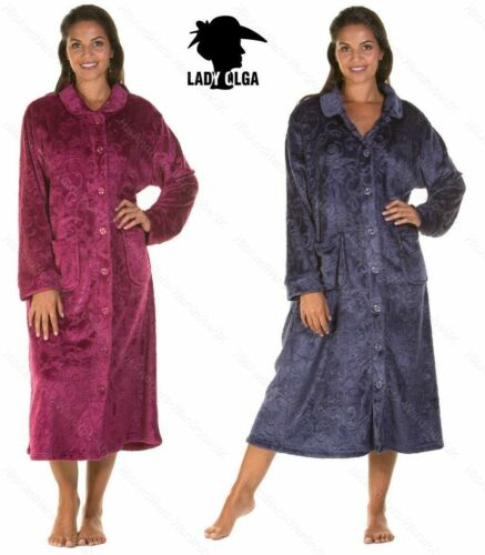 Ladies Womens Soft Feel Embossed Button Through Gown Robe Wrap Size S-XL